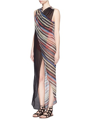 Figure View - Click To Enlarge - Marysia - 'Newport' stripe colourblock overlap cotton-silk dress