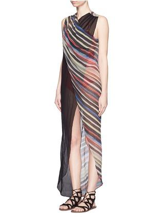 Figure View - Click To Enlarge - Marysia - 'Newport' stripe colourblock overlap cotton-silk dress