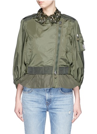 Main View - Click To Enlarge - Moncler - 'Gereba' floral embellishment asymmetric zip jacket