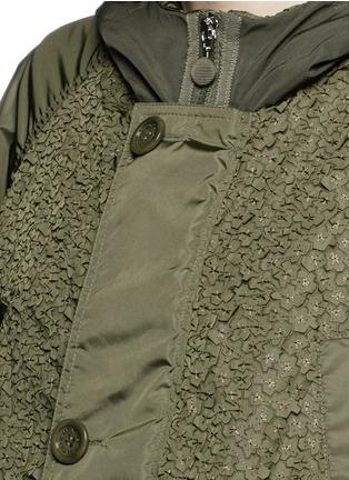 Detail View - Click To Enlarge - Moncler - 'Fougere' lasercut floral appliqué parka