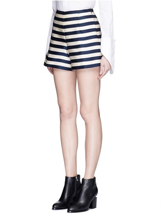 Front View - Click To Enlarge - Moncler - Duchesse satin Bermuda shorts