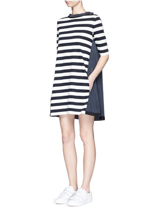Figure View - Click To Enlarge - Moncler - Stripe jersey front dress
