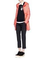 'Barbel' drawstring waist hooded long down jacket