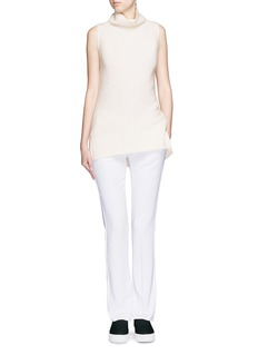 VINCE Directional rib wool-cashmere sleeveless turtleneck sweater
