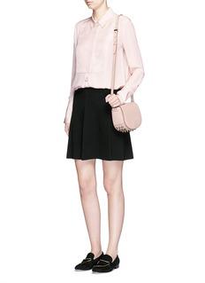 VINCETuxedo inset silk blouse