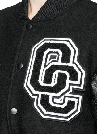 Detail View - Click To Enlarge - Opening Ceremony - 'OC' leather sleeve varsity long jacket