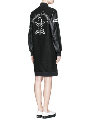 Back View - Click To Enlarge - Opening Ceremony - 'OC' leather sleeve varsity long jacket