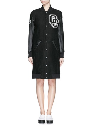 Main View - Click To Enlarge - Opening Ceremony - 'OC' leather sleeve varsity long jacket