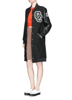 Opening Ceremony 'OC' leather sleeve varsity long jacket