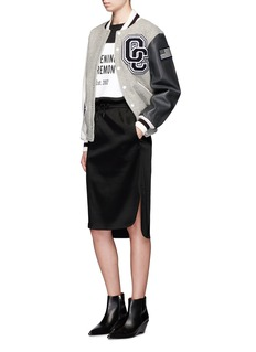 OPENING CEREMONY 'OC' leather sleeve classic varsity jacket
