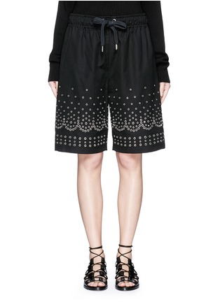Alexander Wang  - Metal eyelet cotton-linen board shorts