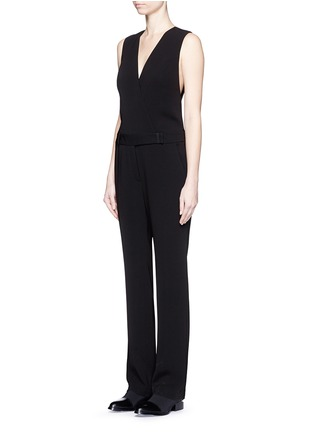 Front View - Click To Enlarge - Alexander Wang  - Wrap front tailored crepe jumpsuit