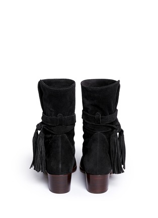 Back View - Click To Enlarge - Chloé - Tassel strap suede ankle boots