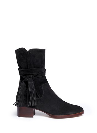 Main View - Click To Enlarge - Chloé - Tassel strap suede ankle boots