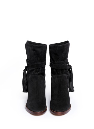 Figure View - Click To Enlarge - Chloé - Tassel strap suede ankle boots