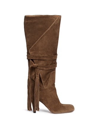 Main View - Click To Enlarge - Chloé - Tassle tie fold cuff suede boots