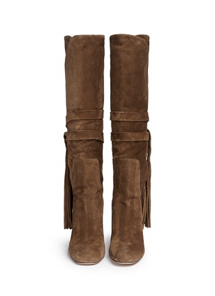 Figure View - Click To Enlarge - Chloé - Tassle tie fold cuff suede boots