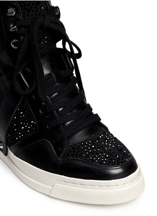 Detail View - Click To Enlarge - Ash - 'Club' high top crystal leather wedge sneakers