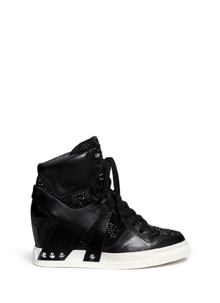Main View - Click To Enlarge - Ash - 'Club' high top crystal leather wedge sneakers