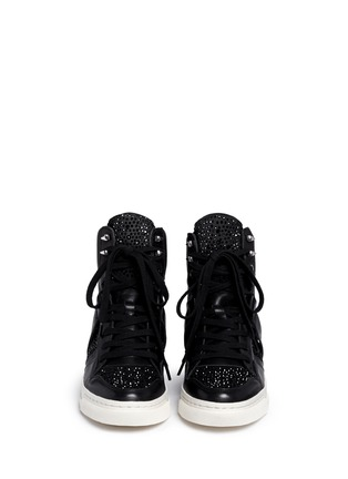 Figure View - Click To Enlarge - Ash - 'Club' high top crystal leather wedge sneakers