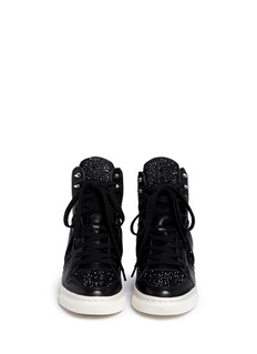 ASH 'Club' high top crystal leather wedge sneakers