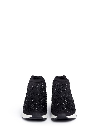 Front View - Click To Enlarge - Ash - 'Lunare' crystal embellished neoprene sneakers