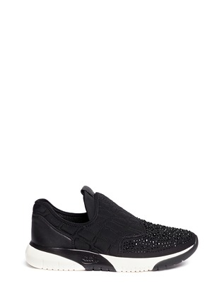 Main View - Click To Enlarge - Ash - 'Saturn' crystal patchwork neoprene slip-on sneakers