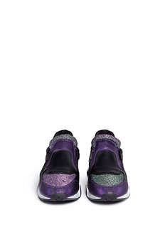 ASH'Hop' croc embossed leather glitter lamé sneakers