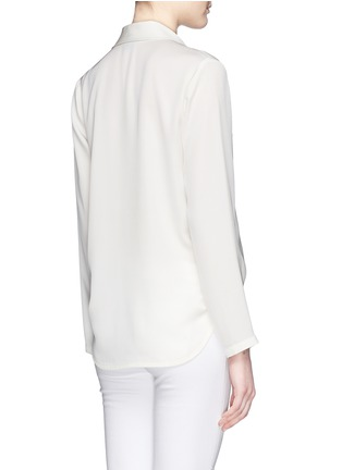 背面 - 点击放大 - THEORY - 'Ilori' drape front silk blouse
