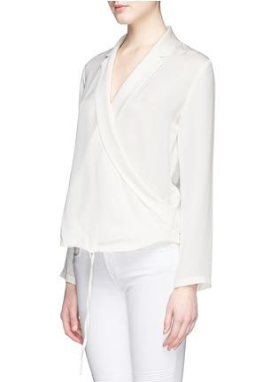 正面 -点击放大 - THEORY - 'Ilori' drape front silk blouse