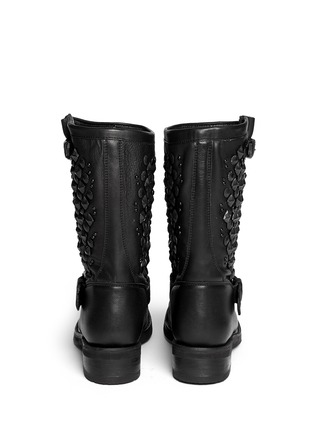 Back View - Click To Enlarge - Ash - 'Tokyo' stud leather biker boots