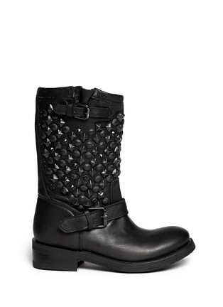 Main View - Click To Enlarge - Ash - 'Tokyo' stud leather biker boots