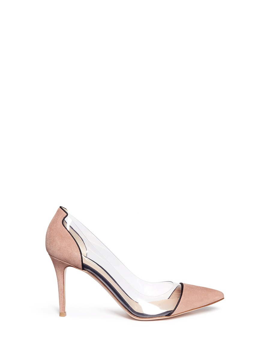 Plexi clear PVC piped suede pumps by Gianvito Rossi