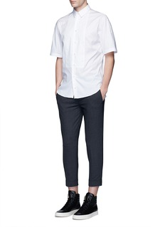 Ports 1961 Bib front short sleeve cotton shirt