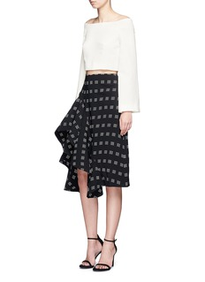 C/Meo Collective  Spelt Out' tile print asymmetric ruffled skirt