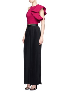 C/Meo Collective  Heart Commands' asymmetric ruffle sleeve cropped top