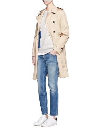 模特儿示范图 - 点击放大 - CLOSED - 牛仔布拼贴纯棉卫衣