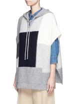 Patchwork alpaca blend knit poncho