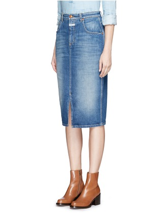 Front View - Click To Enlarge - Closed - 'Coco' front slit denim skirt