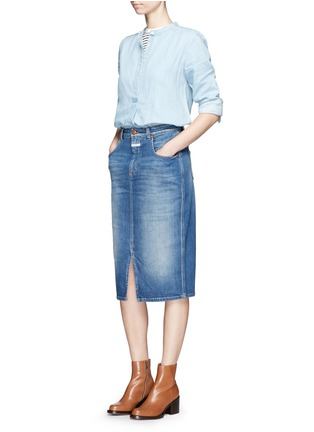 Figure View - Click To Enlarge - Closed - 'Coco' front slit denim skirt