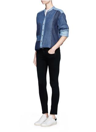 模特儿示范图 - 点击放大 - CLOSED - 拼贴设计牛仔衬衫