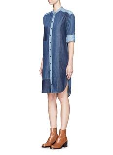 ClosedPatchwork cotton denim shirt dress