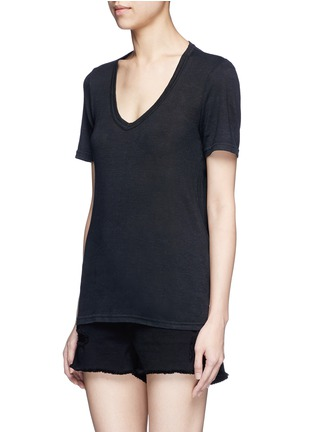 Front View - Click To Enlarge - Isabel Marant Étoile - 'Kranger' V-neck linen T-shirt