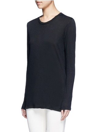 Front View - Click To Enlarge - Isabel Marant Étoile - 'Karon' linen long sleeve T-shirt