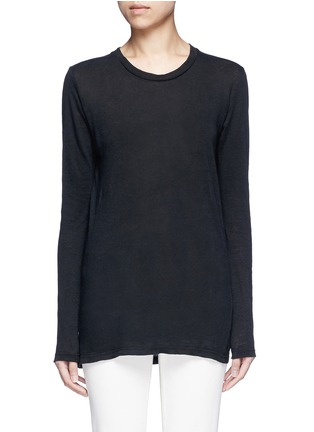 Main View - Click To Enlarge - Isabel Marant Étoile - 'Karon' linen long sleeve T-shirt