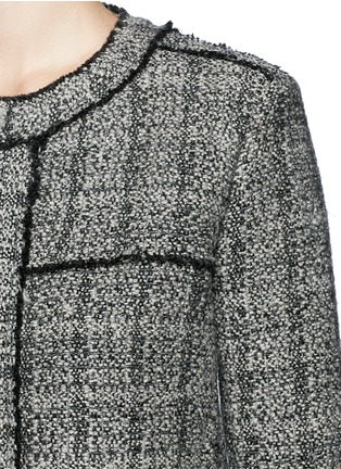 Detail View - Click To Enlarge - Isabel Marant Étoile - 'Laura' stripe frayed edge tweed jacket
