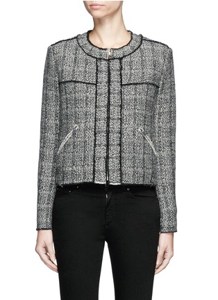 Main View - Click To Enlarge - Isabel Marant Étoile - 'Laura' stripe frayed edge tweed jacket