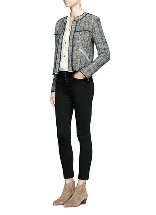 Figure View - Click To Enlarge - Isabel Marant Étoile - 'Laura' stripe frayed edge tweed jacket
