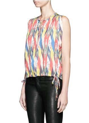 Front View - Click To Enlarge - Isabel Marant Étoile - 'Hervey' rainbow tribal print drawstring blouse