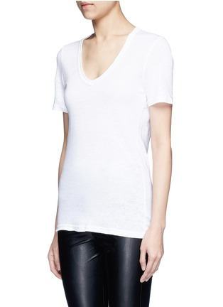 Front View - Click To Enlarge - Isabel Marant Étoile - 'Kranger' V-neck linen T-shirt